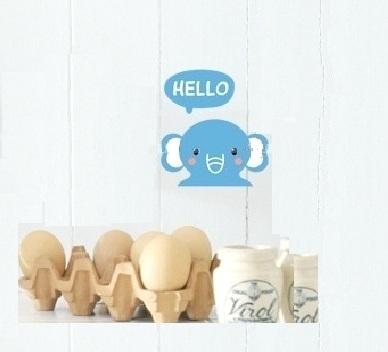 """สติ๊กเกอร์ติดปลั๊กไฟ """"Hello Elephant"""" 8 x14 cm"""