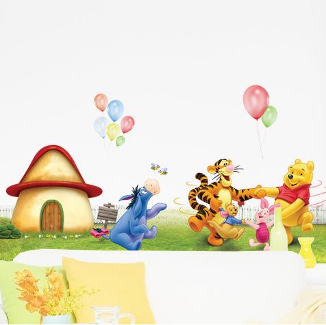 """สติ๊กเกอร์ติดผนัง สำหรับห้องเด็ก """"Happy Pooh"""" ความสูง 55 cm กว้าง 105 cm"""