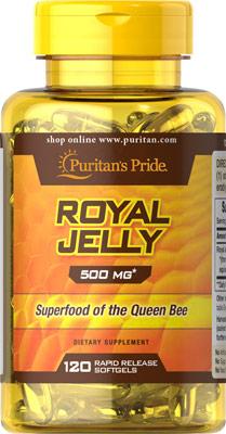 น้ำนมผึ้ง เพิ่มภูมิต้านทาน เผาผลาญพลังงาน Puritan's Pride Royal Jelly 500 mg ขนาด 120 Softgels