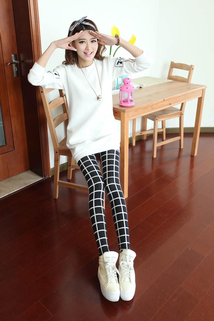กางเกง เวอร์ชั่นเกาหลีใหม่ของลายสก๊อตสีดำ