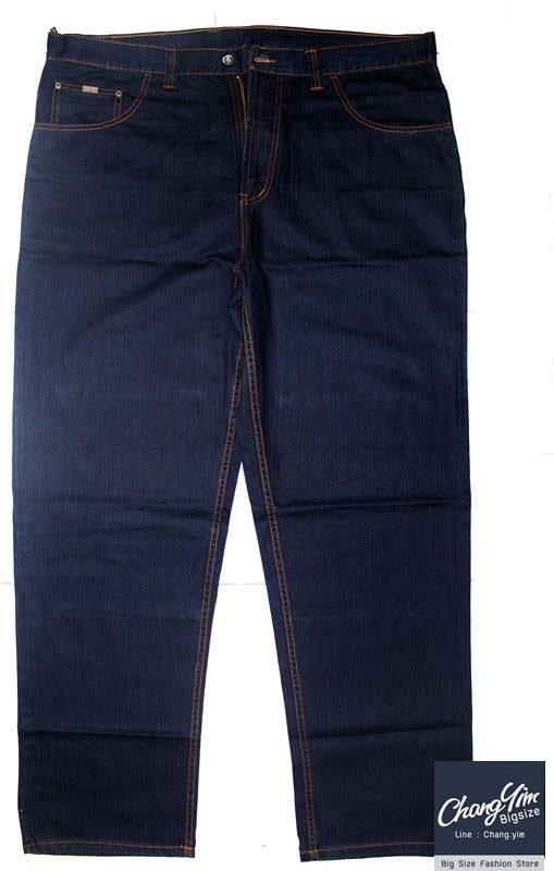 """40-54""""กางเกงขายาว ผู้ชายอ้วน #3531 ทรงกระบอก ผ้ายีนส์"""