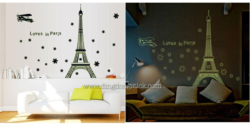 """สติ๊กเกอร์ติดผนังเรืองแสง """"Love in Paris"""" ความสูง 140 cm กว้าง 175 cm"""