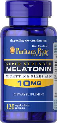 หลับสบาย ผ่อนคลายความตึงเครียด Puritan's Pride Melatonin 10 mg ขนาดสุดคุ้ม 120 Capsules
