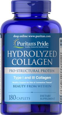 คอลลาเจน ลดริ้วรอย Puritan's Pride Hydrolyzed Collagen 1000 mg 180 เม็ด