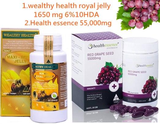 นมผึ้งแมกซี่wealthy health royal jelly 1650 mg 1ปุก+สารสกัดเมล้ดองุ่น Healthessence 55,000mg.1ปุก บำรุงผิวขาวใส ชะลอผิวแก่กว่าวัย ไม่อ้วน
