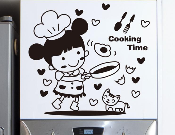 """สติ๊กเกอร์ติดผนังตกแต่งบ้าน """"Cooking Time"""" ความสูง 30 cm ยาว 30 cm"""