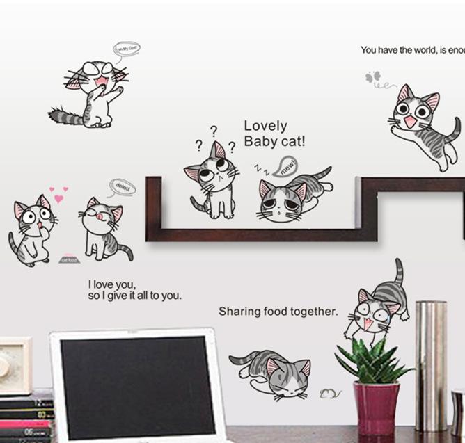 """สติ๊กเกอร์ติดผนัง ตกแต่งบ้าน """"แมวจี้"""""""