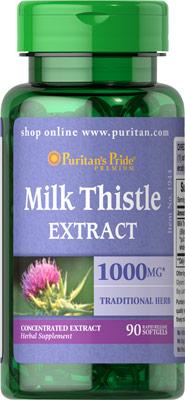 Detox บำรุงตับ Puritan's Pride Milk Thistle 4:1 Extract 1000 mg (Silymarin) ขนาด 90 Softgels