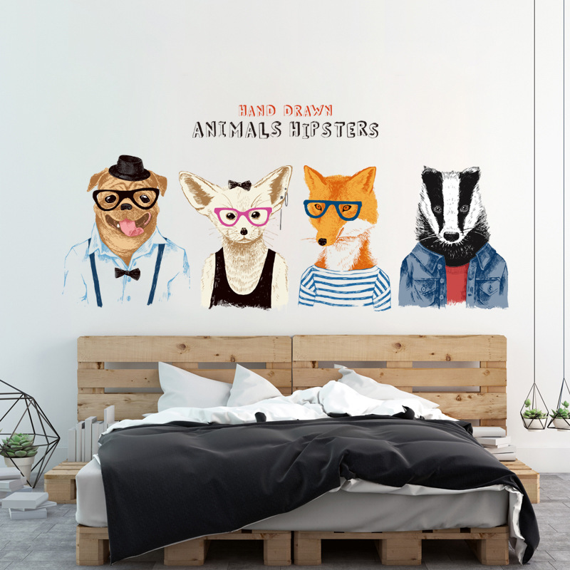 """สติ๊กเกอร์ติดผนัง สำหรับห้องเด็ก (AU) """"Animal Hipster""""ความสูง 56 cm ความยาว 120 cm"""