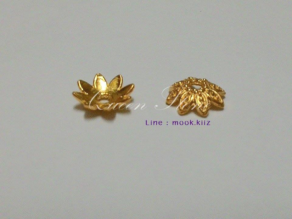 ตัวครอบสีทองรูปดอกไม้ (1 คู่)