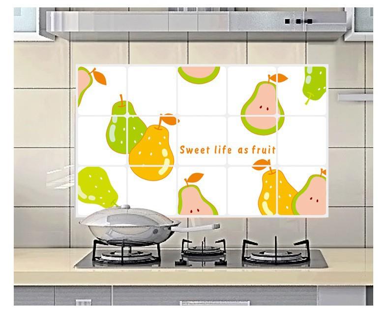 """สติ๊กเกอร์ติดครัว กันน้ำมันกระเด็น อลูมิเนียม """"Sweet Life as Fruit"""" ขนาด 45cm x 75cm"""