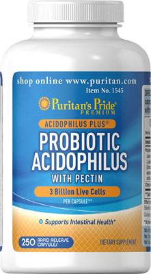 ช่วยเหลือระบบย่อยอาหาร Puritan's Pride - Probiotic Acidophilus with Pectin 3 billion ขนาดใหญ่สุดคุ้ม 250 Capsules