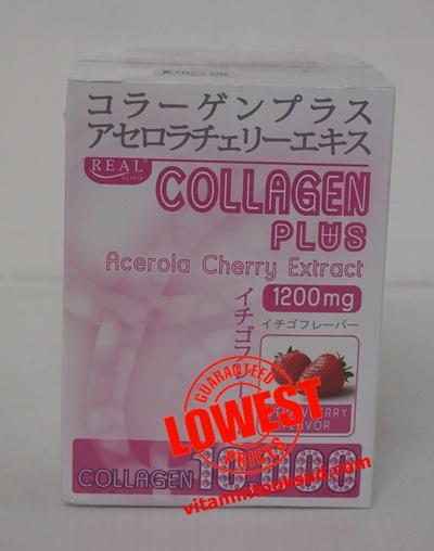 Real Collagen 10,000 Plus Acerola Cherry 1200 mg. 10 ซอง เรียล คอลลาเจน ราคาถูก ส่งฟรี