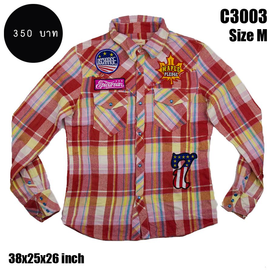 C3003 เสื้อลายสก๊อตแนวๆ มีTag ติดเสื้อ เสื้อลายสก๊อต Biker