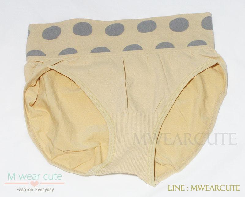 กางเกงในเอวสูง กางเกงในขอบใหญ่ กางเกงในผู้หญิง ลายจุด สีเนื้อ