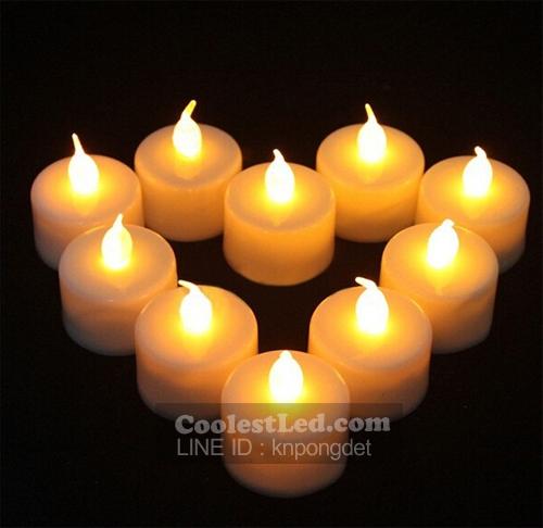 เทียน LED เทียนใส่ถ่าน เปลวไฟกระพริบเหมือนไฟจากเทียนจริง แสงสีส้ม