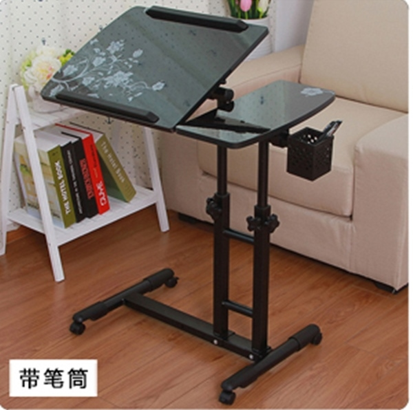 Pre-order โต๊ะทำงาน โต๊ะวางคอมพิวเตอร์ โต๊ะวางแล็ปท้อป ขาคู่ แบบมัลติฟังก์ชั่น ปรับระดับได มีล้อเลื่อน แผ่นท้อปพิมพ์ลาย สีดำ