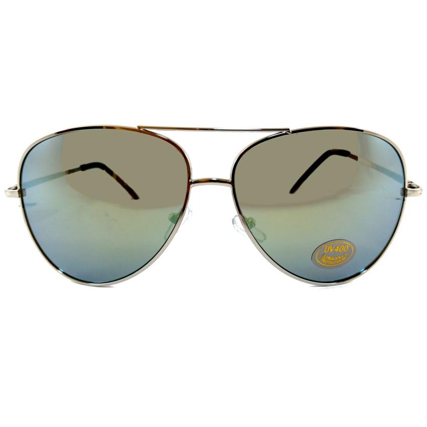 แว่นกันแดดแฟชั่น โอเวอร์ไซด์ คัลเลอร์ กรอบเงิน เลนส์ปรอท