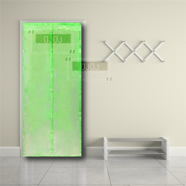 ม่านประตูแม่เหล็กกันยุงสีพื้นสีเขียวขนาด90*210