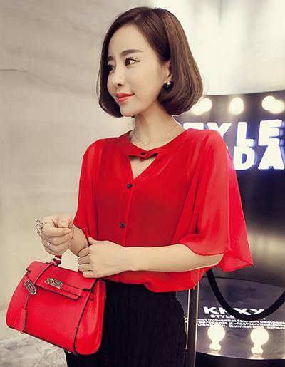 เสื้อแฟชั่น แขนสั้นทรงบานพริ้วออกงานสวยหรู-1520-สีแดง