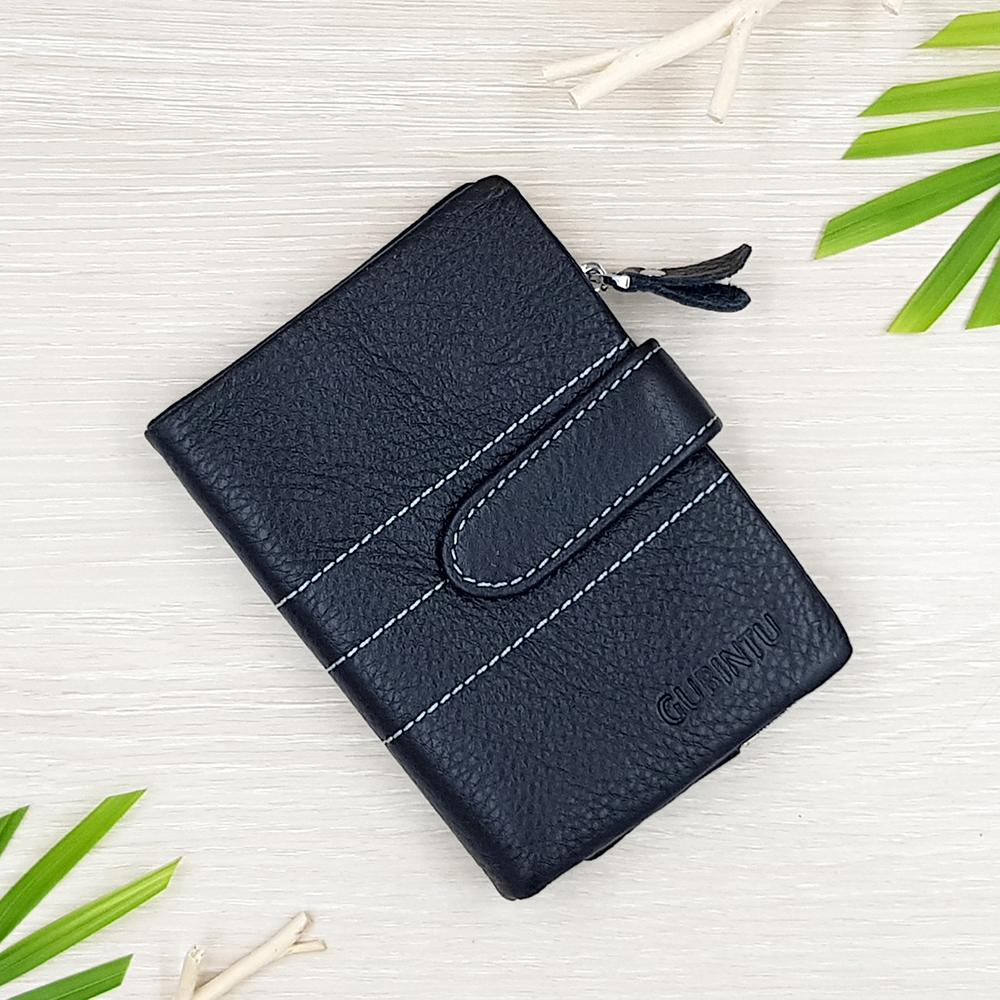 กระเป๋าสตางค์หนังแท้ ผู้ชาย ทรงตั้ง รุ่น GUBINTU Line Button Zip Black สีดำ