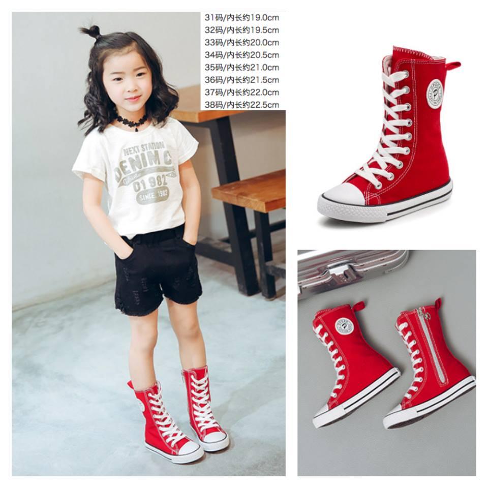 รองเท้าผ้าใบ หุ้มข้อยาว สีแดง