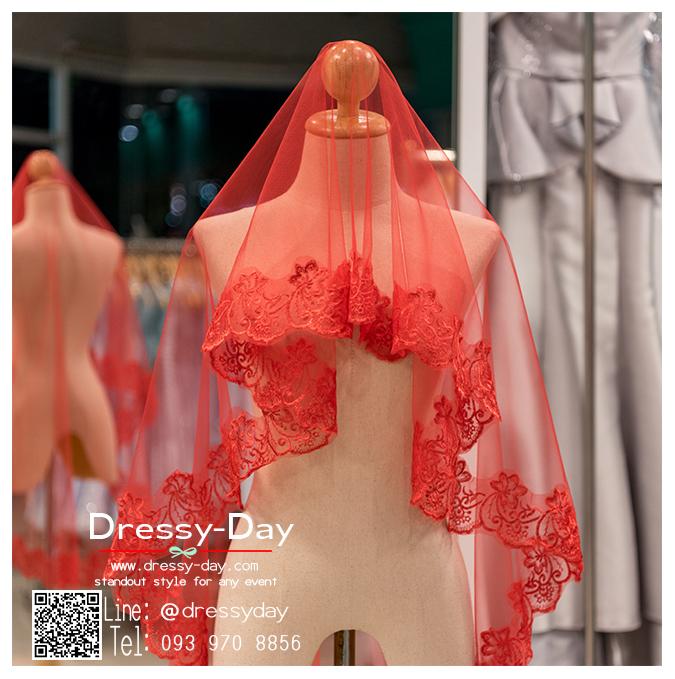 รหัส ผ้าคลุมผม : VD002 ขาย เวล ผ้าคลุมผม พร้อมส่ง สีทอง เหมาะมากสำหรับใส่ในพิธียกน้ำชา และงานแต่งงานธรรมเนียมจีน สีแดง เวลเจ้าสาว