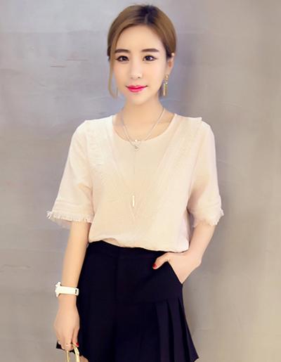เสื้อแฟชั่น คอกลม แต่งผ้าลูกไม้สวยหวานน่ารักสไตล์เกาหลี รหัส 1514-สีชมพูโอลโรส