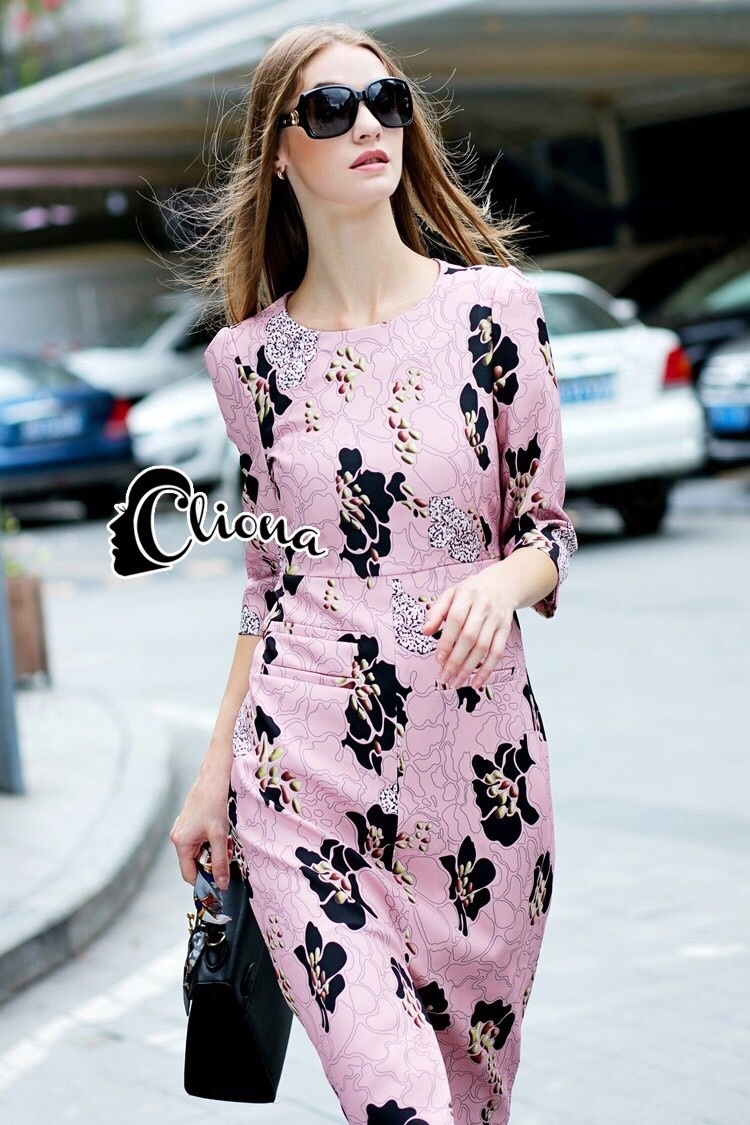 Cliona made' DG Black Roses On Pinky Dress