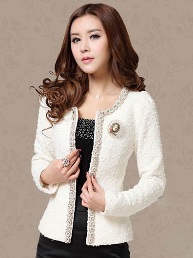เสื้อทำงาน แขนยาว ผ้าขนแกะ เย็บประดับเลื่อม สวยหรู สีขาว