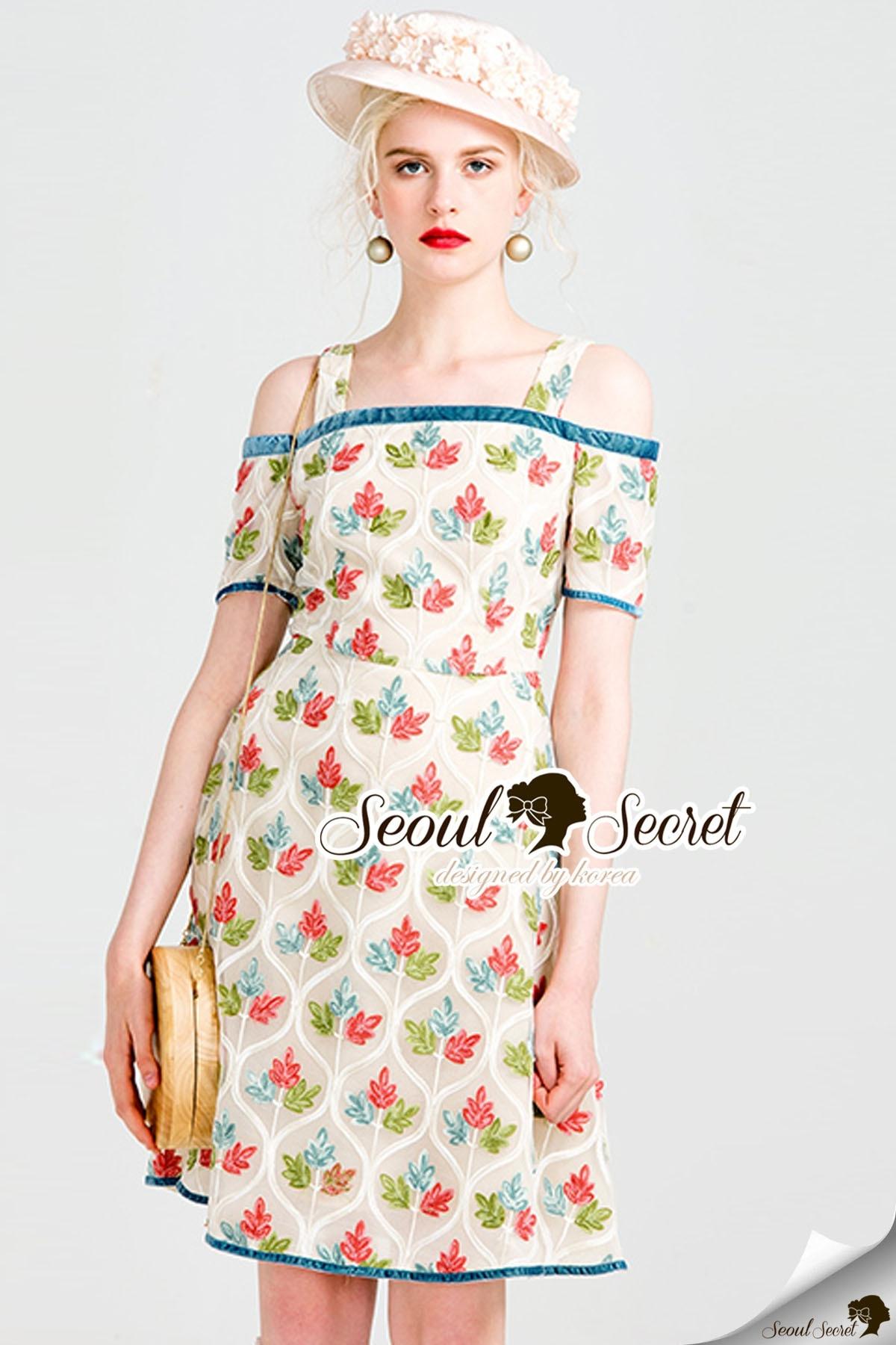 Seoul Secret Say's... Mixxy Color Leaf Sweety Netty Cream Dress