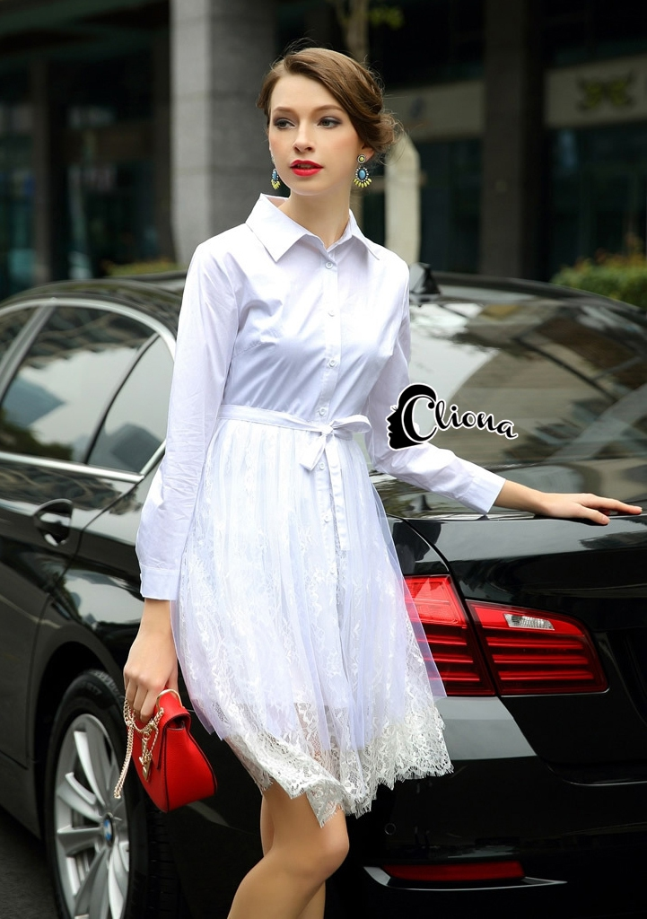 Cliona made' Helena Luxury White Long Shirt Dress