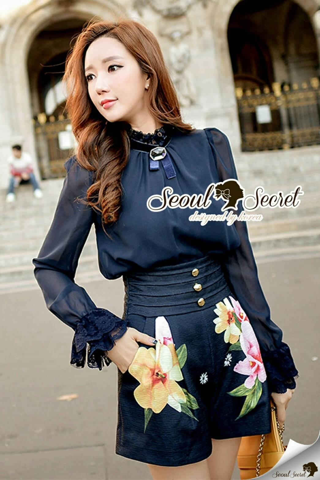 Seoul Secret Say's... Navly Lace Colar Chic Blossom Pants Set
