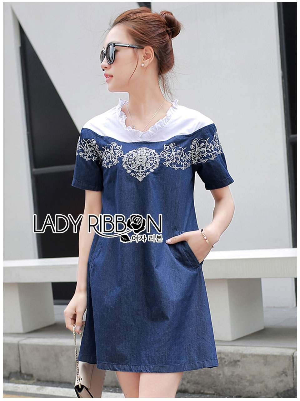 Lady Wendy Embroidered Denim Dress with Frilled Cotton Neck