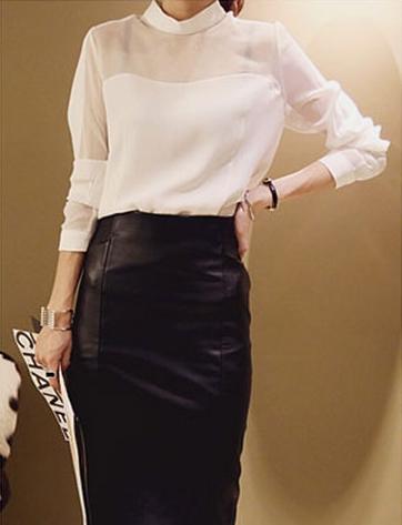 เสื้อทำงานแฟชั่น เสื้อแขนยาว ผ้าไลคร่า โชว์หน้าอก เสื้อทำงานสีขาว