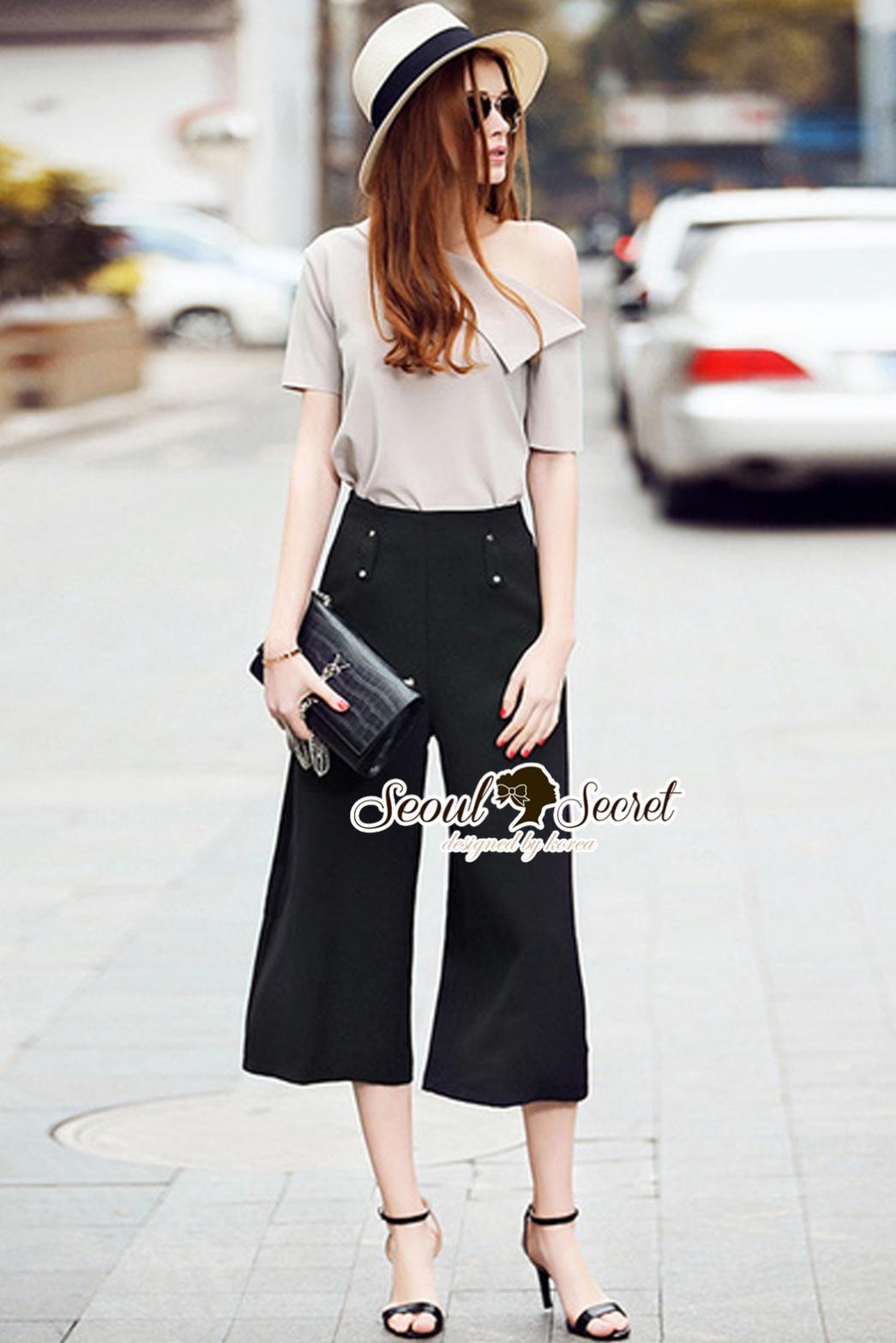 Seoul Secret Say's... Slantly Blouse Pants Set