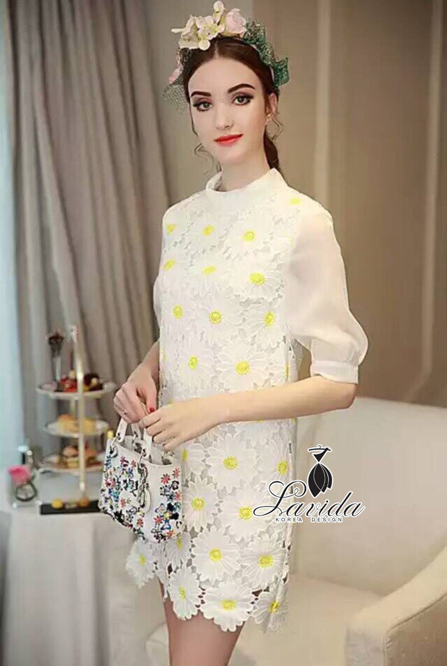 Korea Design By Lavida elegant see through daisy floral white lace dress