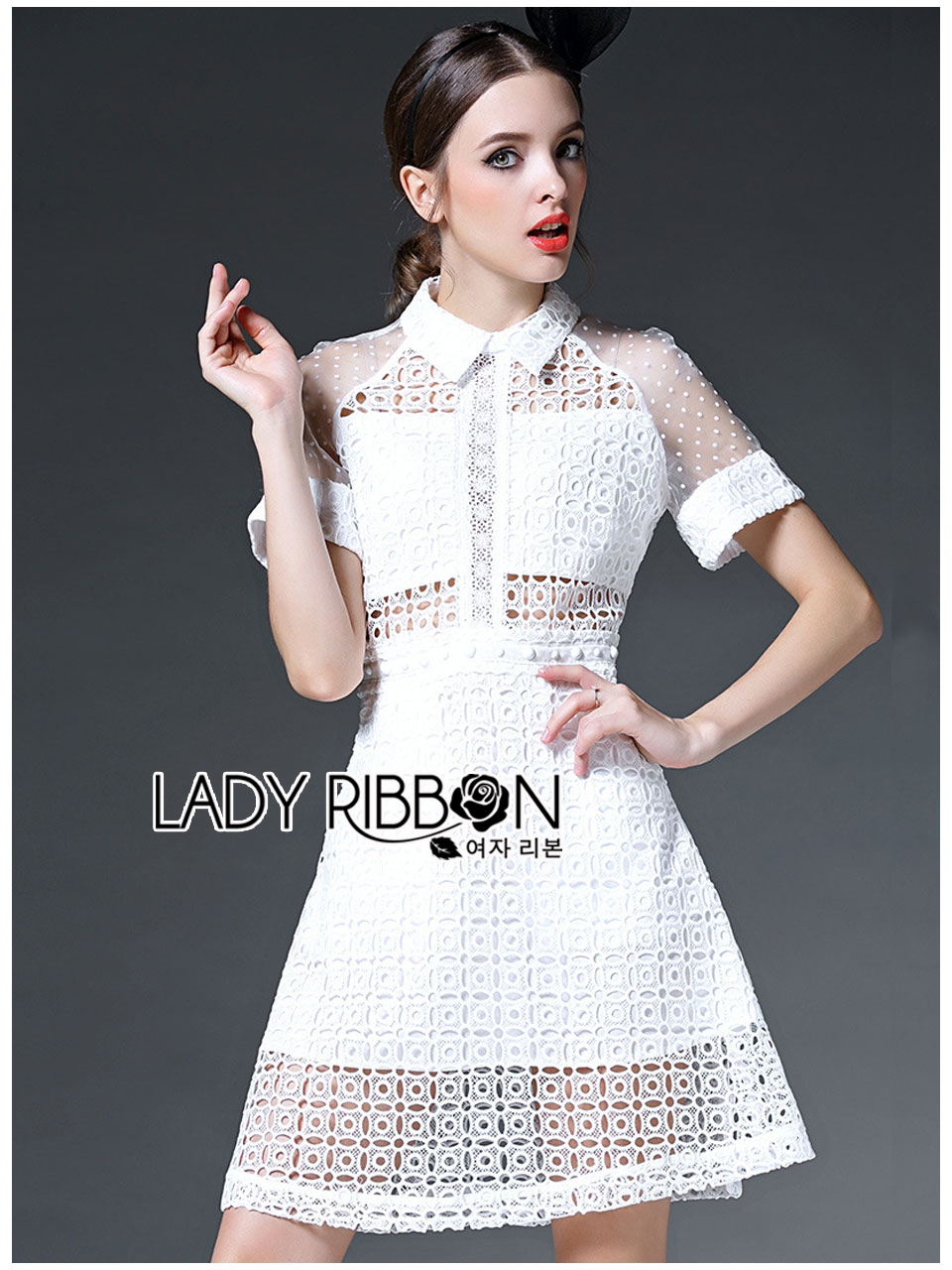 Lady Ribbon's Made Lady Taylor Sweet Preppy Collared White Lace Dress