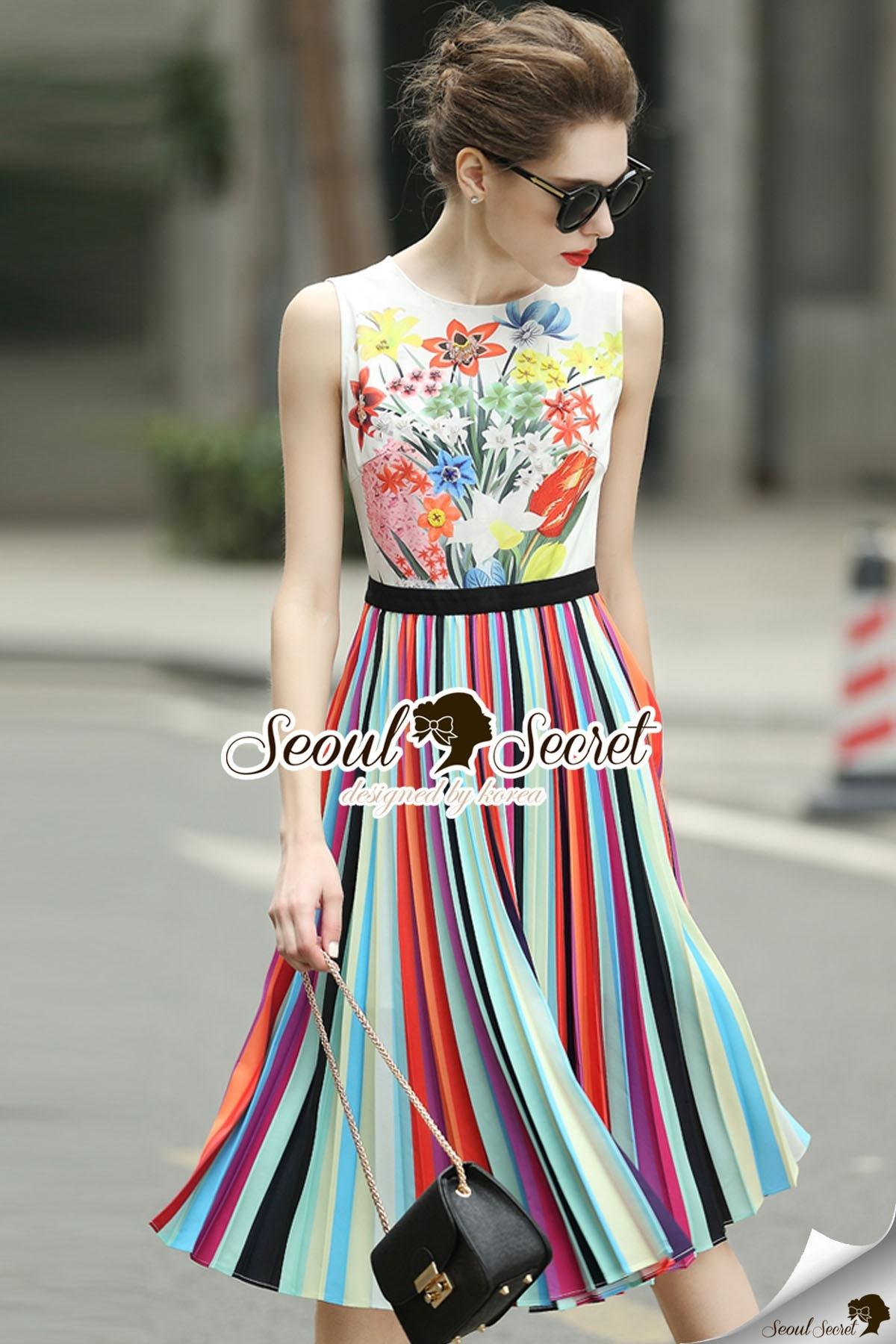 Seoul Secret Say's... Lollita Pleatly Color Flora Print Dress