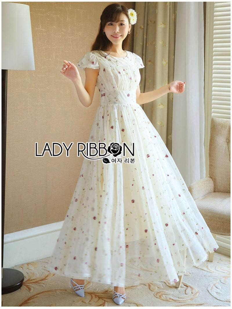 Lady Ribbon's Made Lady Lara Mini Flower Embroidered Tulle Evening Dress