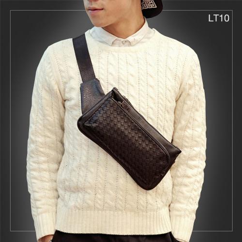 LT10 กระเป๋าคาดอก กระเป๋าคาดเอว หนัง PU ลายสาน สีดำ