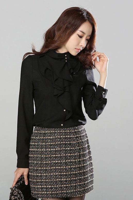 เสื้อทำงาน แขนยาว ผ้าชีฟอง ประดับริ้วผ้าด้านหน้า ดูดี เสื้อสีดำ