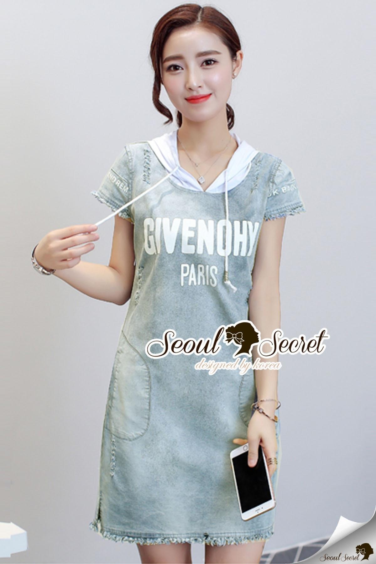 Seoul Secret Say's... Givenchy Hoody Chic Denim Dress