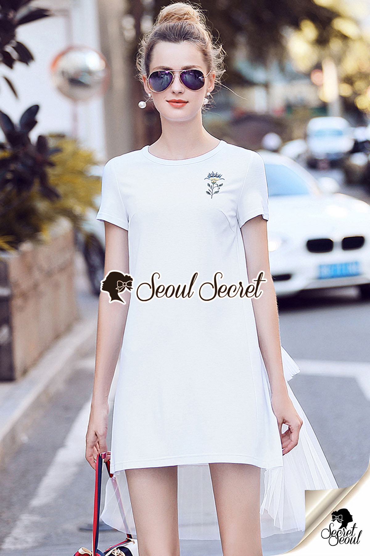 White Flossy Cotton Flex Dress