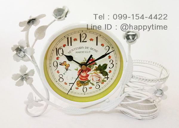 นาฬิกาตั้งโต๊ะ Vintage Style ตะกร้าสีขาว
