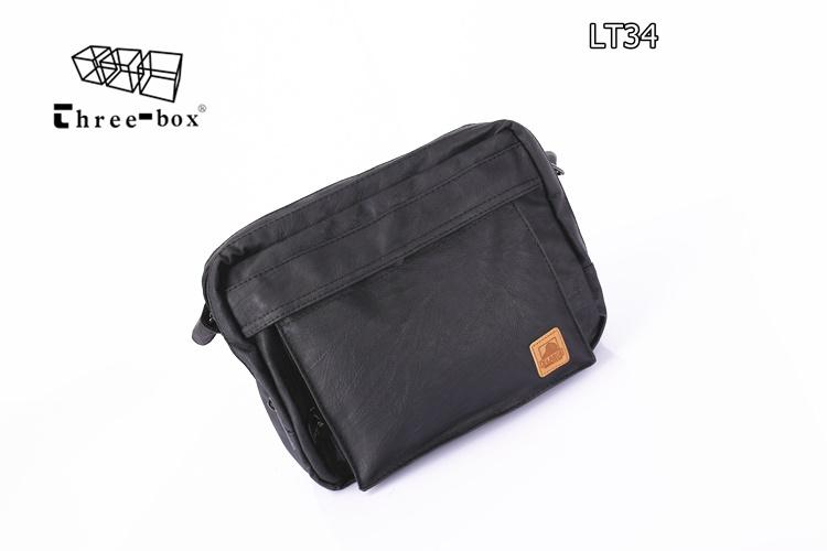 LT34-Black กระเป๋าสะพายข้าง หนัง PU สีดำ X-LARGE