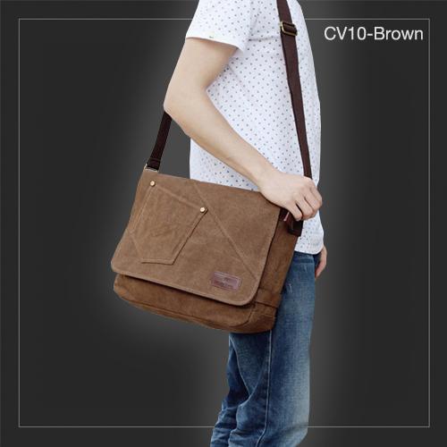 CV10-Brown กระเป๋าสะพายข้าง ผ้าแคนวาส สีน้ำตาล