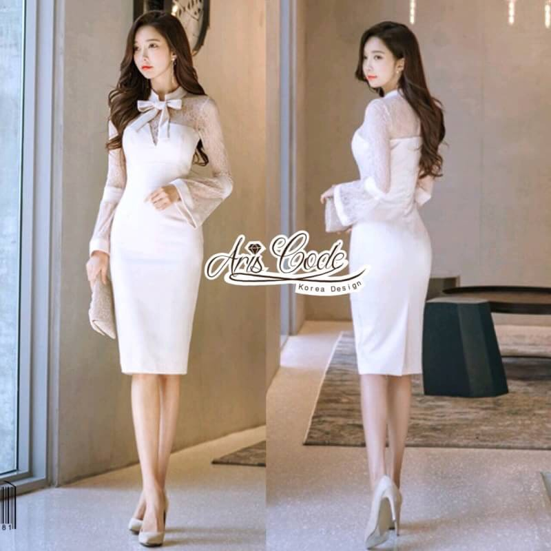 Aris Code Luxurious ribbon White Dress