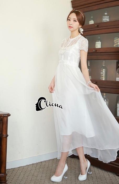 Cliona made'Princess Miyakey Luxury Dress B&W สีขาว
