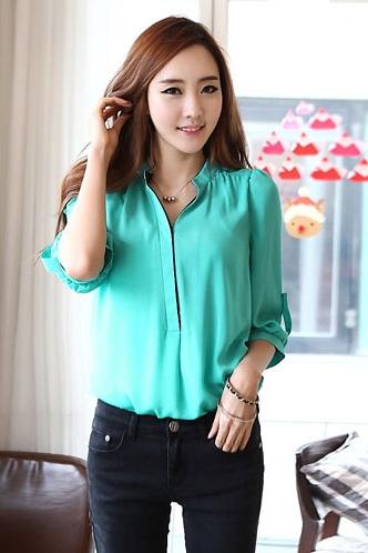 เสื้อทำงาน เสื้อแฟชั่น แขนยาว ผ้าชีฟอง สีเขียว